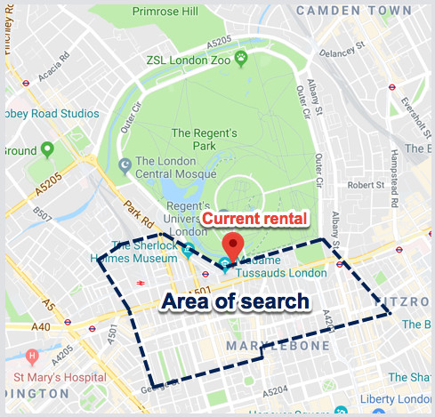 Area of property search
