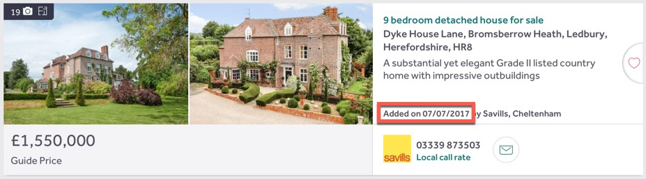 Date property was listed on Rightmove